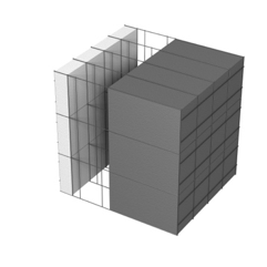 <b>Performance thermique : </b>R>8,85 U<0,11<br> <b>Parois intérieures:</b><br> 5cm PSE blanc<br> <b>Voile béton :</b><br> de 15 cm, 20cm<br>   <b>Parois extérieures: </b><br>25cm PSE graphité