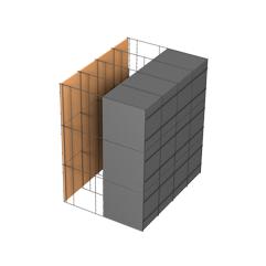 <b>Performance thermique : </b>R>4,66 U<0,21<br> <b>Parois intérieures:</b><br> Fibro Ciment<br> <b>Voile béton :</b><br> de 15 cm, 20cm<br>   <b>Parois extérieures: </b><br>15cm PSE graphité