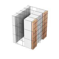 <b>Performance thermique : </b>R>4,69 U<0,21<br> <b>Parois intérieures:</b><br> 5cm PSE blanc<br> <b>Voile béton :</b><br> de 15 cm, 20cm<br>   <b>Parois extérieures: </b><br>12cm PSE blanc + Tasseaux 3cm