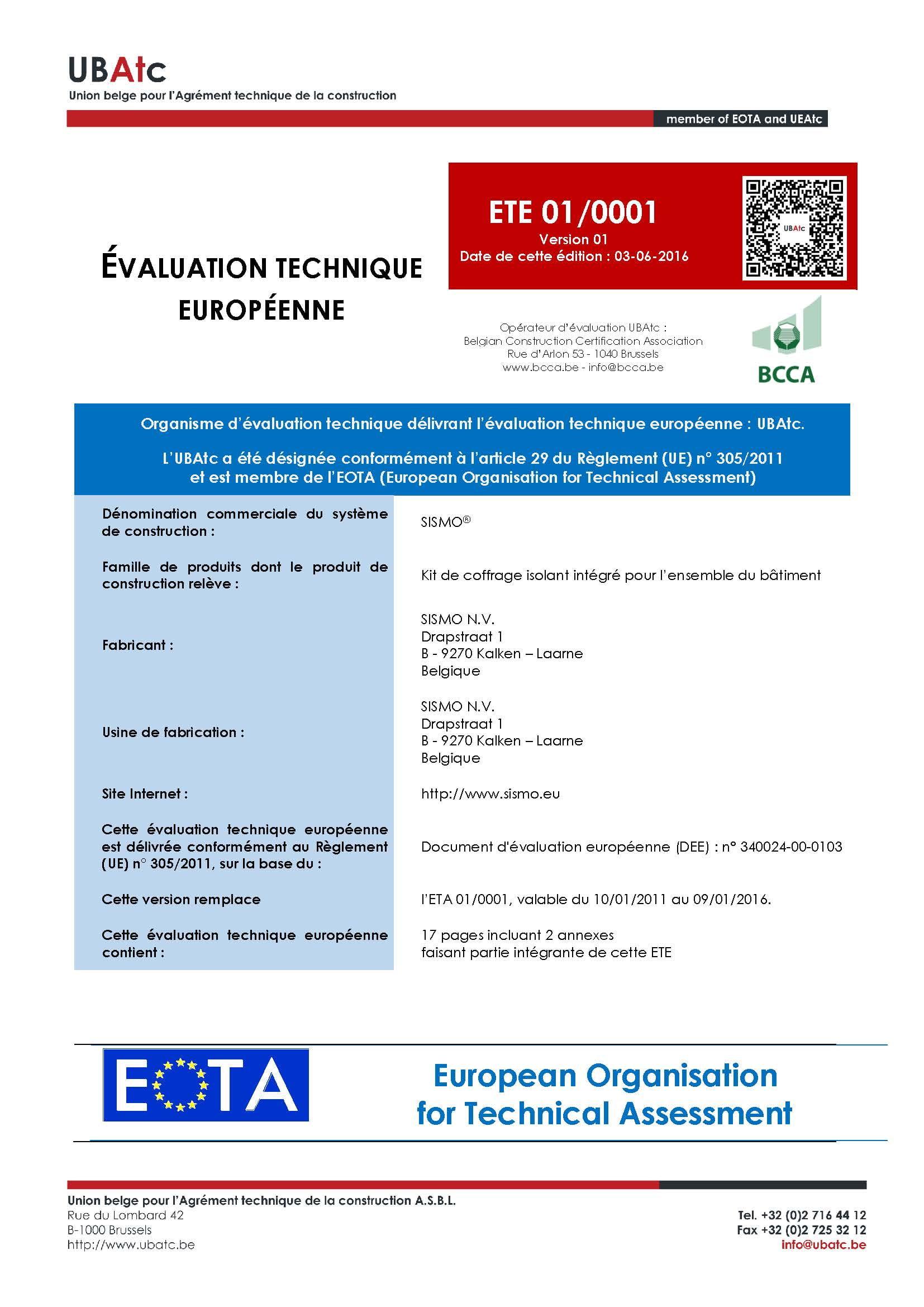 Evaluation Technique Européenne
